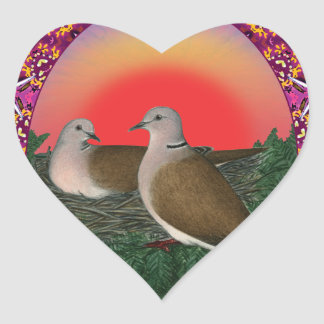 Tauben gerahmt Herz-Aufkleber