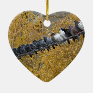 Tauben Keramik Herz-Ornament