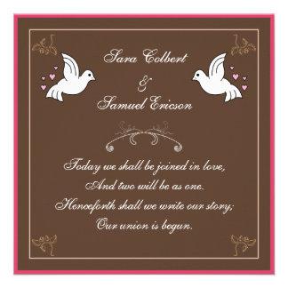 Tauben mit Herzen Brown rosa weißes Gedicht laden Individuelle Einladung