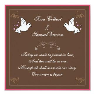 Tauben mit Herzen Brown, rosa weißes Gedicht laden Individuelle Einladung