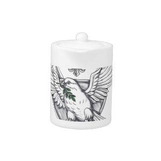 Tauben-olivgrüne Blatt-Klinge-Wappen-Tätowierung