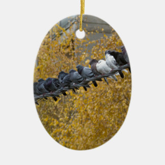 Tauben Ovales Keramik Ornament