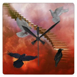 Tauben und Raben-Wanduhr Quadratische Wanduhr