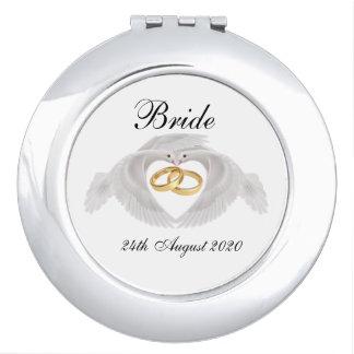 Tauben-und Ring-runder Braut-Vertrags-Spiegel Schminkspiegel