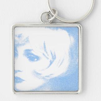 Taubenblaues Mädchen, stilvoll, Schablone keychain Silberfarbener Quadratischer Schlüsselanhänger