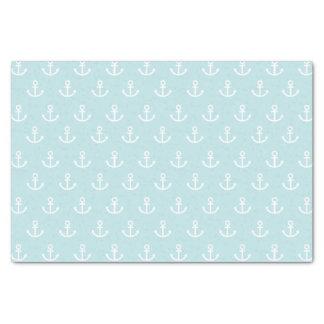Taubenblaues und weißes Anker-Muster Seidenpapier