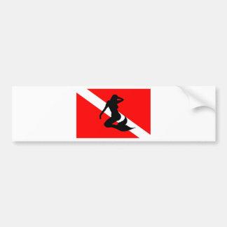 Tauchen-Flaggen-Meerjungfrau Autoaufkleber