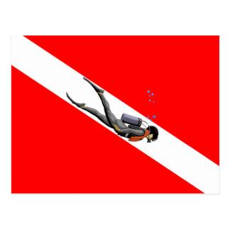 Taucher und Tauchen-Flagge Postkarte