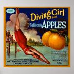 Tauchmädchen-Marken-Kalifornien-Äpfel - Vintag Poster