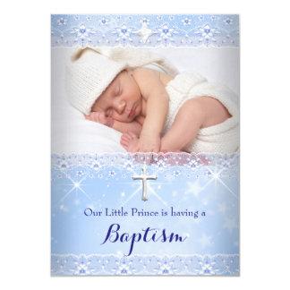 Taufe-Baby-Foto der Jungen-Blau-Spitzes 11,4 X 15,9 Cm Einladungskarte