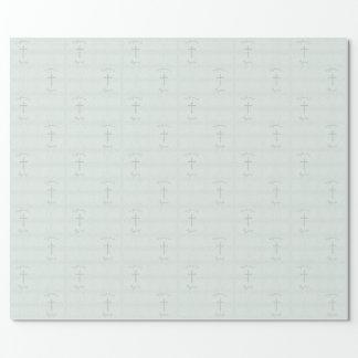 Taufe-blaue empfindliche Blumenopalspitze Geschenkpapier