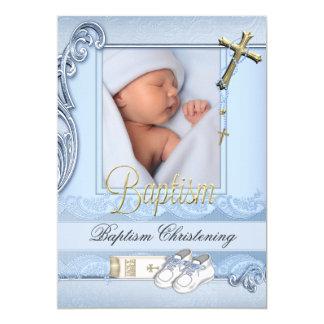 Taufe-blaue Goldkreuz-Jungen-Taufe 2 12,7 X 17,8 Cm Einladungskarte