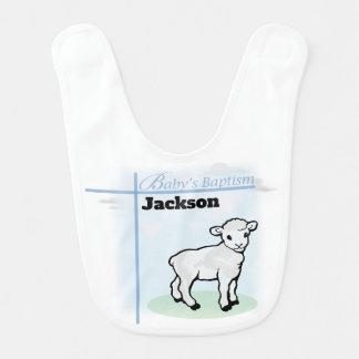Taufe-blauer Jungen-Lamm, kundengerecht Lätzchen