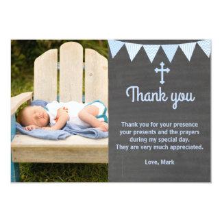 Taufe danken Ihnen, Foto-Karten-Blau-Tafel zu Karte
