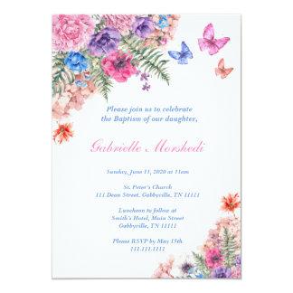 Taufe-Einladung, Blumentaufe, Boho laden ein 12,7 X 17,8 Cm Einladungskarte
