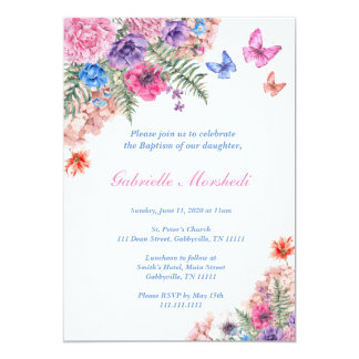 Taufe-Einladung, Blumentaufe, Boho laden ein Karte
