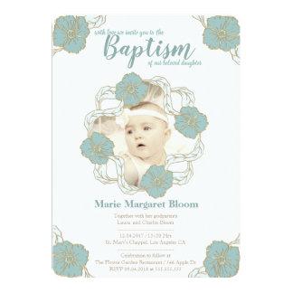 Taufe-Einladung, Unisextaufe in der Minze Karte