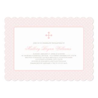 Taufe-Einladungen | erröten rosa Quermuster