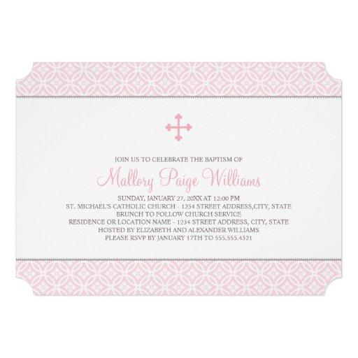 Taufe-Einladungen für rosa Muster des Baby- 