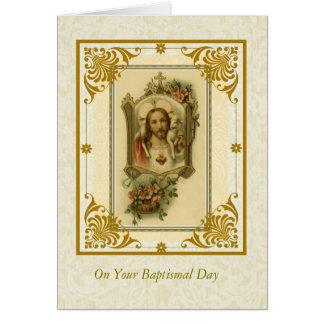TAUFE-ERWACHSENER heiliges Herz von Jesus mit Lamm Karte