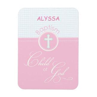 Taufe-Glückwunsch-rosa Kind des Gottes, Geschenk Magnet