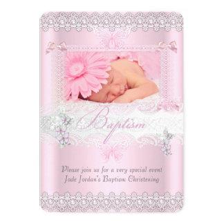 Taufe-hübsches rosa 12,7 x 17,8 cm einladungskarte