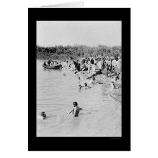 Taufe im Fluss Jordan 1884 Karte