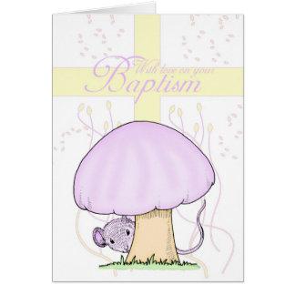 Taufe-Karte mit Kreuz und Maus Karte