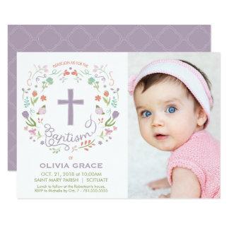 Taufe laden für Mädchen - Foto, die Gewohnheit Karte