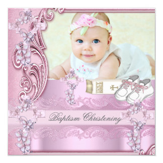 Taufe-rosa Quermädchen-Fototaufe Quadratische 13,3 Cm Einladungskarte