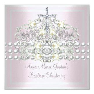 Taufe-rosa Tiara-Silber-weißer Perlen-Diamant Karte