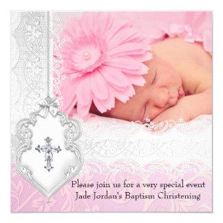 Taufe-rosa weißes Spitze-Foto-Juwel-Kreuz-Mädchen Quadratische 13,3 Cm Einladungskarte