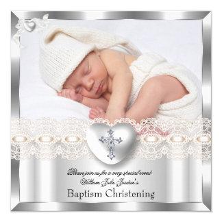 Taufe-silbernes Quadratische 13,3 Cm Einladungskarte