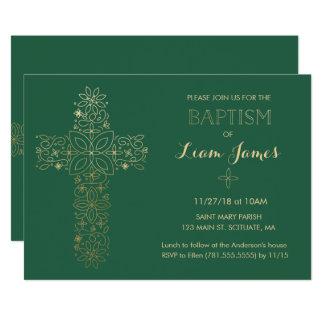 Taufe, Taufeinladung, Goldkreuz laden ein Karte