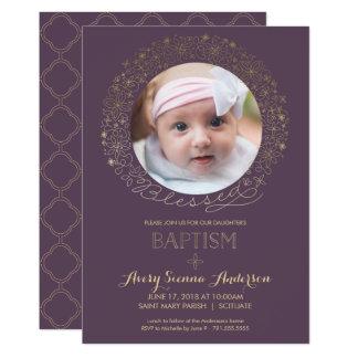 Taufe, TaufFoto-Einladung, Mädchens Karte