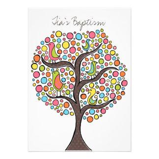 Taufe-Taufvogel-Baum-Gewohnheits-Einladung