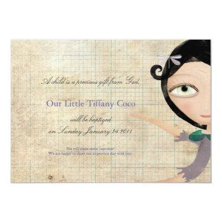 Taufe Tiffany feenhaftes Engelsmitteilungs-Puppe 12,7 X 17,8 Cm Einladungskarte
