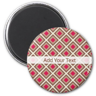 Taupe, heller Taupe, Pink Ikat Diamanten STaylor Runder Magnet 5,1 Cm