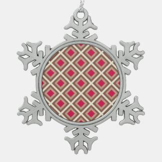 Taupe, heller Taupe, Pink Ikat Diamanten STaylor Schneeflocken Zinn-Ornament