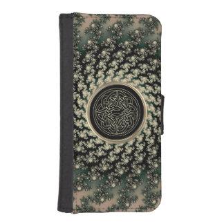 Taupe-keltischer Fraktal-Geldbörsen-Telefon-Kasten iPhone 5 Portmonnaie