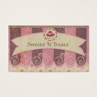 Taupe-rosa Kuchen-Bäckerei-Visitenkarte Visitenkarten