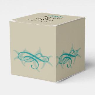 Taupe und aquamarine Küste-Hochzeit Geschenkschachtel