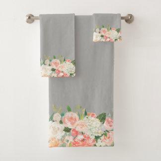 Taupe-und Pfirsich-Aquarell-Blumenmuster Badhandtuch Set