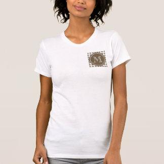 Taupe-und Weiß-Gingham, Ihr Monogramm T-Shirt
