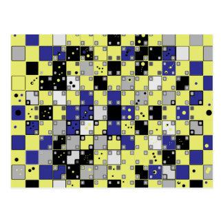 Täuschungs-Muster in Blauem, gelb, grau Postkarte