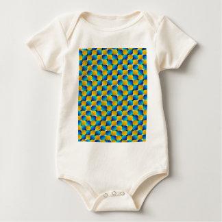 Täuschungs-verwerfendes Blau/Gelb der Trommel-#3 Baby Strampler