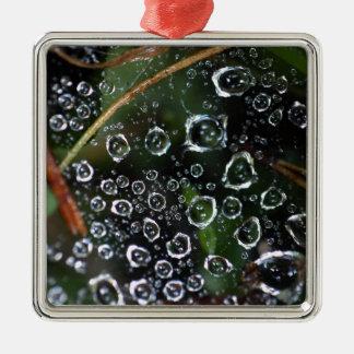 Tautropfen eines Spinnennetzes Silbernes Ornament
