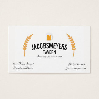 Taverne-oder Bar-Bier-Logo-Geschäfts-Karte Visitenkarte