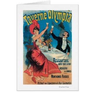 Taverne Olympia-förderndes Plakat Grußkarte