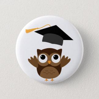 Tawny Eule, die seinen Abschluss-Kappen-Knopf Runder Button 5,7 Cm